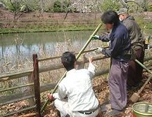 竹の垣根、水琴窟(すいきんくつ)施工3